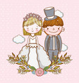 woman and man wedding with clouds and plants vector image vector image