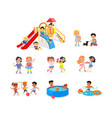 children spending time on playground or in pool vector image
