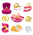 wedding rings engagement symbol gold silver vector image