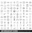 100 breakfast icons set outline style vector image vector image