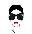beautiful woman face with red lips make-up and vector image vector image