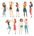 best friends set happy smiling girls spending vector image vector image