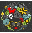 Black head woman with strange pattern on her hair vector image vector image