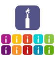 burning bottle icons set flat vector image