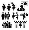 businesswoman female ceo stick figure pictogram vector image