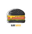 cartoon black burger icon with cheese meat vector image