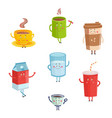 cartoon cute drink characters isolated on white vector image vector image