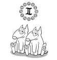 cartoon dog as gemini zodiac sign vector image vector image