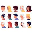 character profiles cartoon people face side vector image vector image