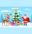 christmas santa claus reindeer vector image vector image
