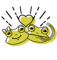 color cute frog couple animal with heart design vector image vector image