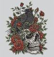 Crow Roses and Skull Tattoo Design