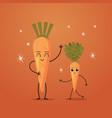 cute carrot characters couple funny cartoon mascot vector image