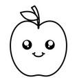 delicious apple fruit kawaii character vector image vector image