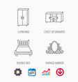 double bed vintage mirror and cupboard icons vector image vector image