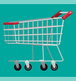 empty supermarket shopping cart isolated vector image