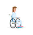 female young with wheelchair flat vector image