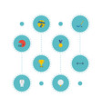 flat icons puck uniform golf and other vector image