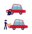 flat mechanic boy tire replacement vector image vector image