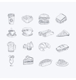 Food And Drink Hand Drawn Artistic Sketch Set vector image vector image