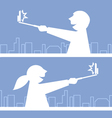 Girl and boy taking a photo with selfie stick vector image vector image