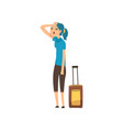 girl tired of carrying a heavy suitcase people vector image vector image
