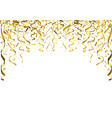 golden falling confetti and ribbons vector image vector image