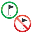 Golf permission signs set vector image vector image