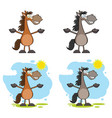 horse cartoon character set collection vector image