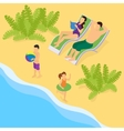 Isometric Family On Vacation Template vector image