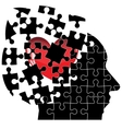 Jigsaw Puzzle head man with a heart shatters into vector image