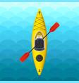 Kayak on blue waves