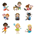 Kids With Gadgets Set vector image vector image