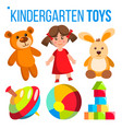 kindergarten toys set colorful items for vector image