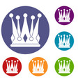kingly crown icons set vector image vector image