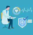 logo medical cross doctor and heartbeat vector image vector image