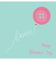 Pink button balloon Love thread card Flat design vector image vector image