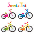 riding color bikes isolated on white vector image