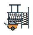 scaffold and wheelbarrow vector image vector image