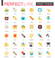 set flat fast food icons vector image