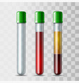 set glassware tube empty filled blood and vector image vector image
