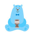set of cartoon polar bears with cup of coffee vector image vector image