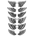 set of wings isolated on white background design vector image vector image