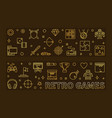 set retro games outline golden banners vector image