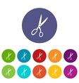 Sewing scissors set icons vector image