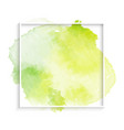 simple frame with green watercolor stain eps 10 vector image vector image