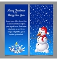 snowman in red hat on a blue background snow vector image vector image