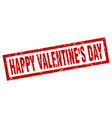 square grunge red happy valentines day stamp vector image vector image