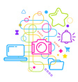 Symbols of working with photos on the computer on vector image vector image