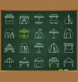 tent chalk draw line icons set vector image